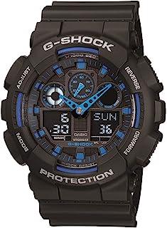 Men's G XL Series Quartz Watch Strap, WR Shock Resistant Resin Color: Black and Blue (Model: GA-100-1A2CR)