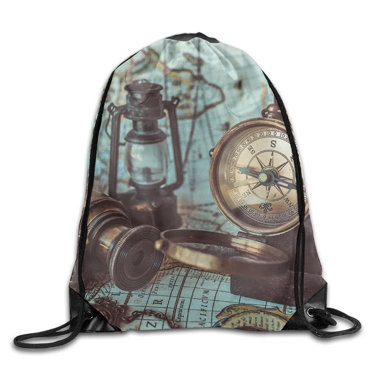 Yishuo Antique Old Pirate Rare Items Collections Bronze Manually Rotation Compass Oil Lamp Binocular Drawstring Pack Beam Mouth Gym Sack Shoulder Bags For Men & Women