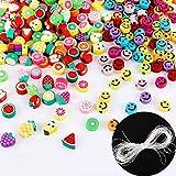300pcs Cuentas Tema de Frutas Cuentas Colores con Sonrisa con Hilo Elástico Abalorios Acrílico Redondo Granos Decorativos con Agujero Manualidades Bricolaje Joyería Collar Pulsera