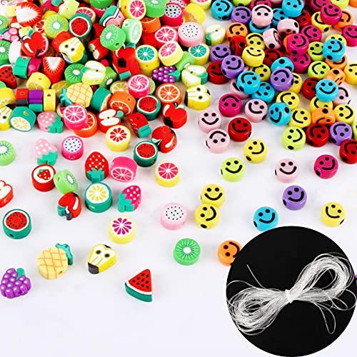 300pcs Cuentas Tema de Frutas Cuentas Colores con Sonrisa con Hilo Elástico...