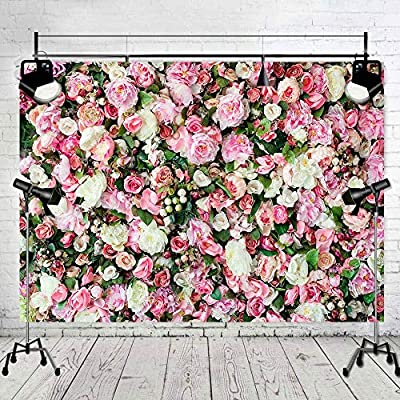 8x12 FT Orange and Pink Vinyl Photography Backdrop,Bunch of Roses and Rings with Bells Fresh Petals Green Leaves Waterdrips Background for Party Home Decor Outdoorsy Theme Shoot Props