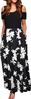 Women's Summer Cold Shoulder Floral Print Elegant Maxi Long Dress with Pocket