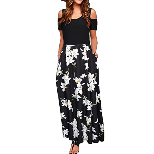 65be2f601842b4 STYLEWORD Women s Summer Cold Shoulder Floral Print Elegant Maxi Long Dress  with Pocket