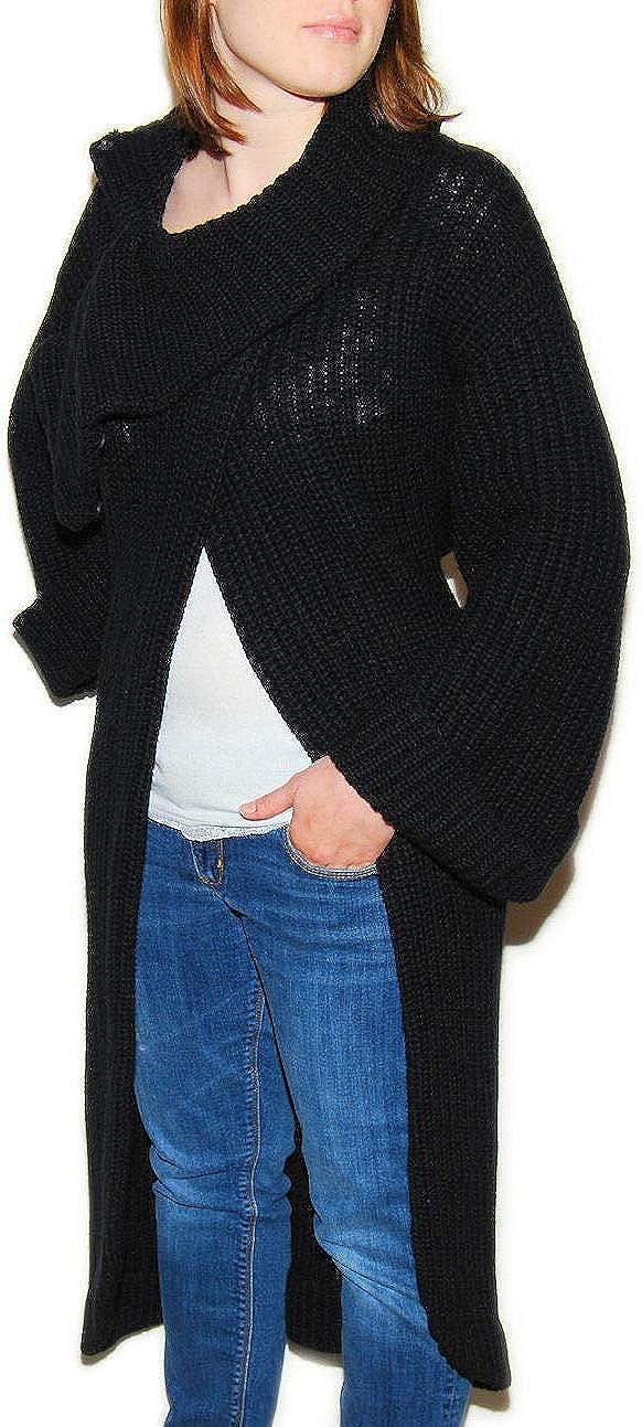Ralph Lauren Purple Label Womens Cashmere Cardigan Cape Sweater Coat Italy Black Medium
