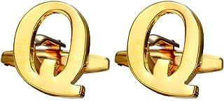 U7 الرجال أزرار الأكمام قميص الزفاف الأعمال الأزرار البلاتين الذهب مطلي اسم مونوغرام مجوهرات الرسالة الروابط ، A-Z 26 الأح...