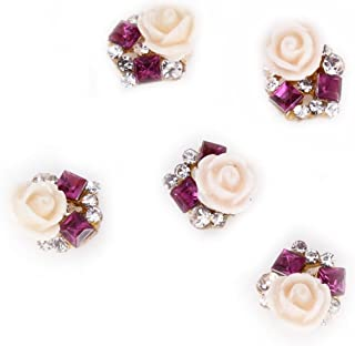 Rain Queen 3D Nail Art Acrylic Rose Flower Glitters Charms for DIY Decorations Purple Rhinestones Pack of 5pcs