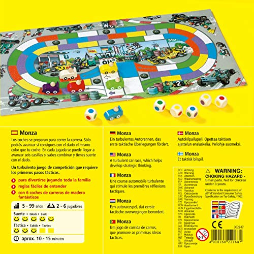 HABA Monza - A Car Racing Beginner's Board Game Encourages Thinking Skills - Ages 5 and Up (Made in Germany)