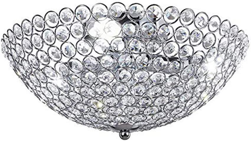 Top Free shipping on posting reviews Lighting 3-Light Bowl-Shaped Chrome Super special price Crystal Finish Metal and
