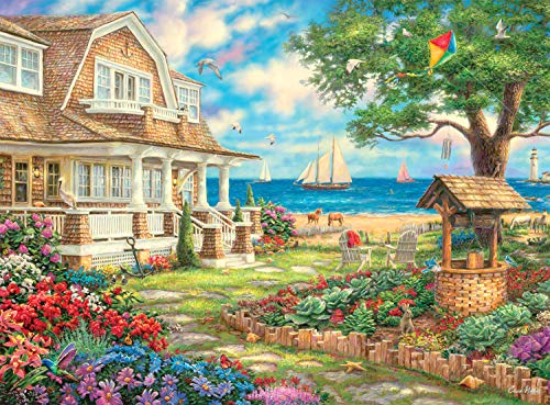 Buffalo Games - Sea Garden Cottage - 1000 Piece Jigsaw Puzzle with Hidden Images