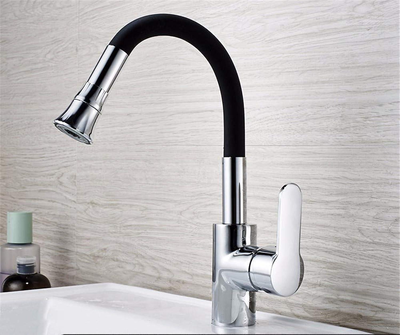 Yuyu19-SLT Becken Wasserhahn Kupfer Krper Einloch Heies Und Kaltes Wasserhahn Bad über Aufsatzbecken Universal Wasserhahn, Schwarz