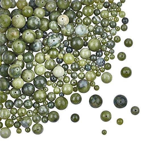 OLYCRAFT 273 pz Perline di Giada Taiwan Naturale Perlina di Roccia Verde 4mm 6mm 8mm 10mm 12mm Perline di Diaspro Naturale Perline di Pietra Preziosa Allentate Rotonde Pietra Energetica