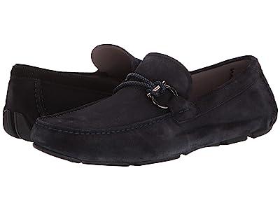 Salvatore Ferragamo Front 4 Loafer (Dark Blue Suede) Men