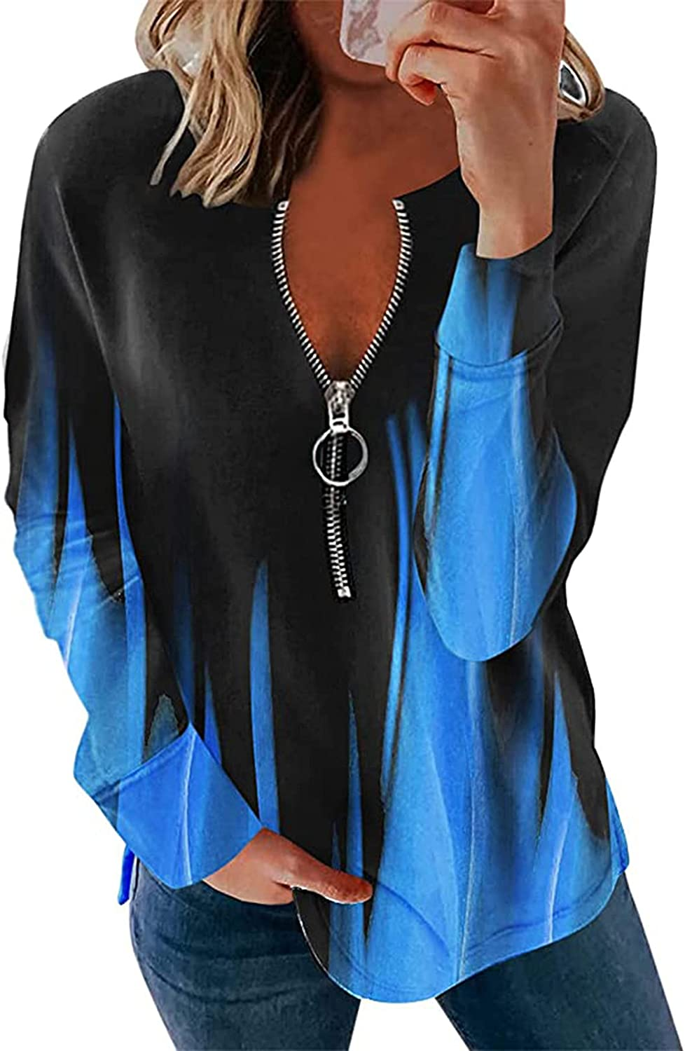 SPOORYYO Long Sleeve Tops for Women, Womens Fashion V Neck Solid Zipper Pullover Sweatshirt Casual Loose Tee Shirt Blouse