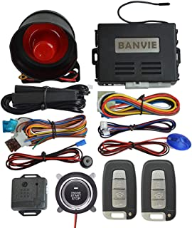 BANVIE PKE Car Alarm System with Remote Engine Start and Push to Engine Start Stop Button and Passive Keyless Entry (PKE +... photo