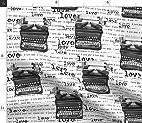 Liebe, Sie, Schreibmaschine, Schwarz, Weiß, Text Stoffe -