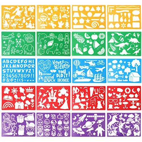 HADDIY Kids Drawing Stencils Set , 20 Pcs Plastic Stencil Kit 300+ Patterns Drawing Templates for Girls & Boys Gift and Card Making