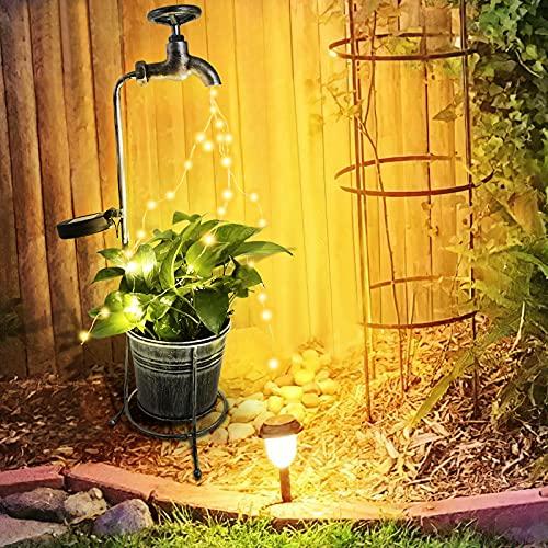 Salangae Salangae - Lámpara solar de jardín, luz de la tira de LED | Estrella cascada decoración de luces solares exteriores, cubo impermeable para decoración de patios, fiestas