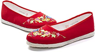 DEED Shoes-Old Peking Embroidered Shoes Cloth Flats Pumps Shoes Pregnant Woman/Girl Comfortable Strong Cloth Soles Chinese Style Hand-Made Gift Red Casual Wild Comfortable Shoes,37