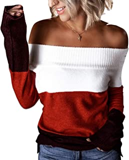 OrientalPort Maglione da donna, sexy, senza spalle scoperte, casual, a righe
