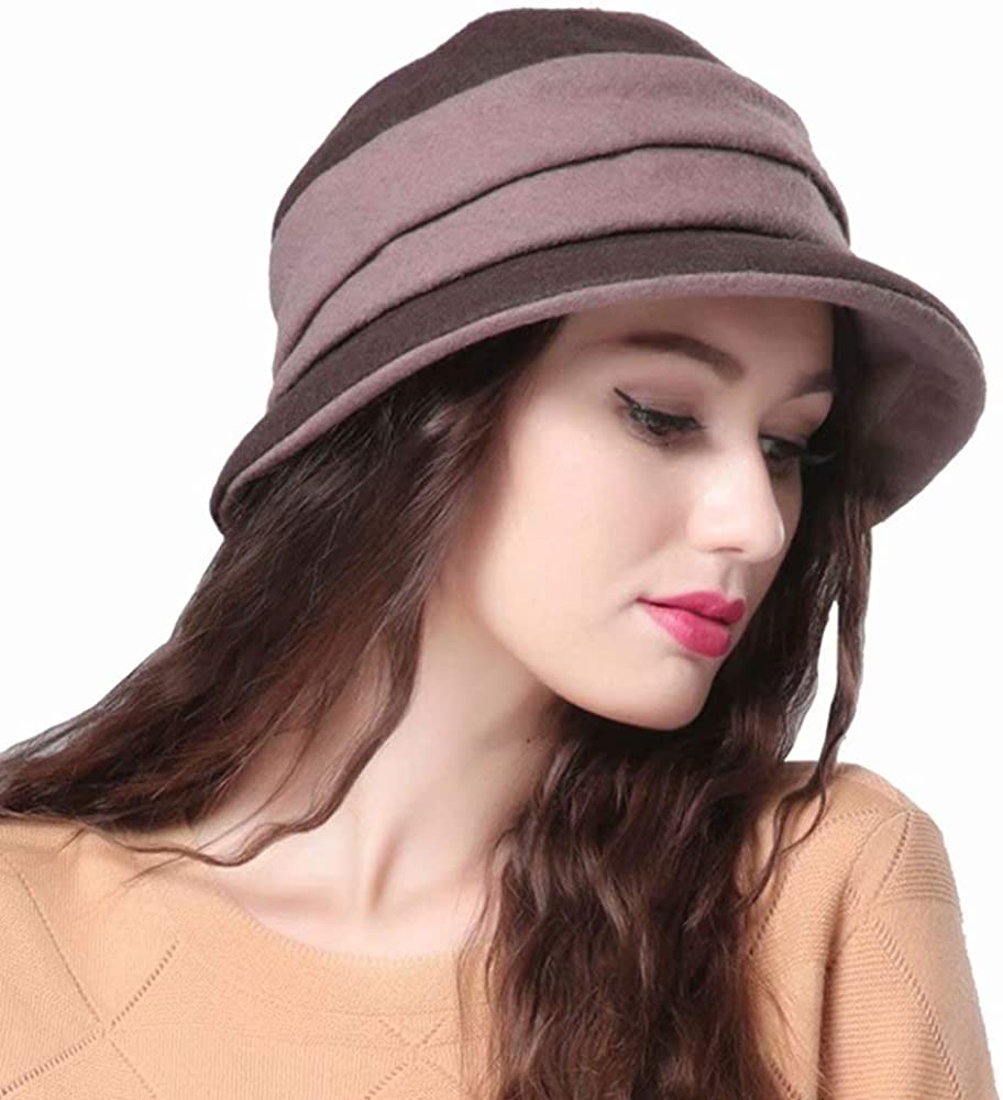 WCOLAS Womens Fedora Wool Felt Floppy Round Bowknot Fishing Hat,Warm Triby Church Party Hats