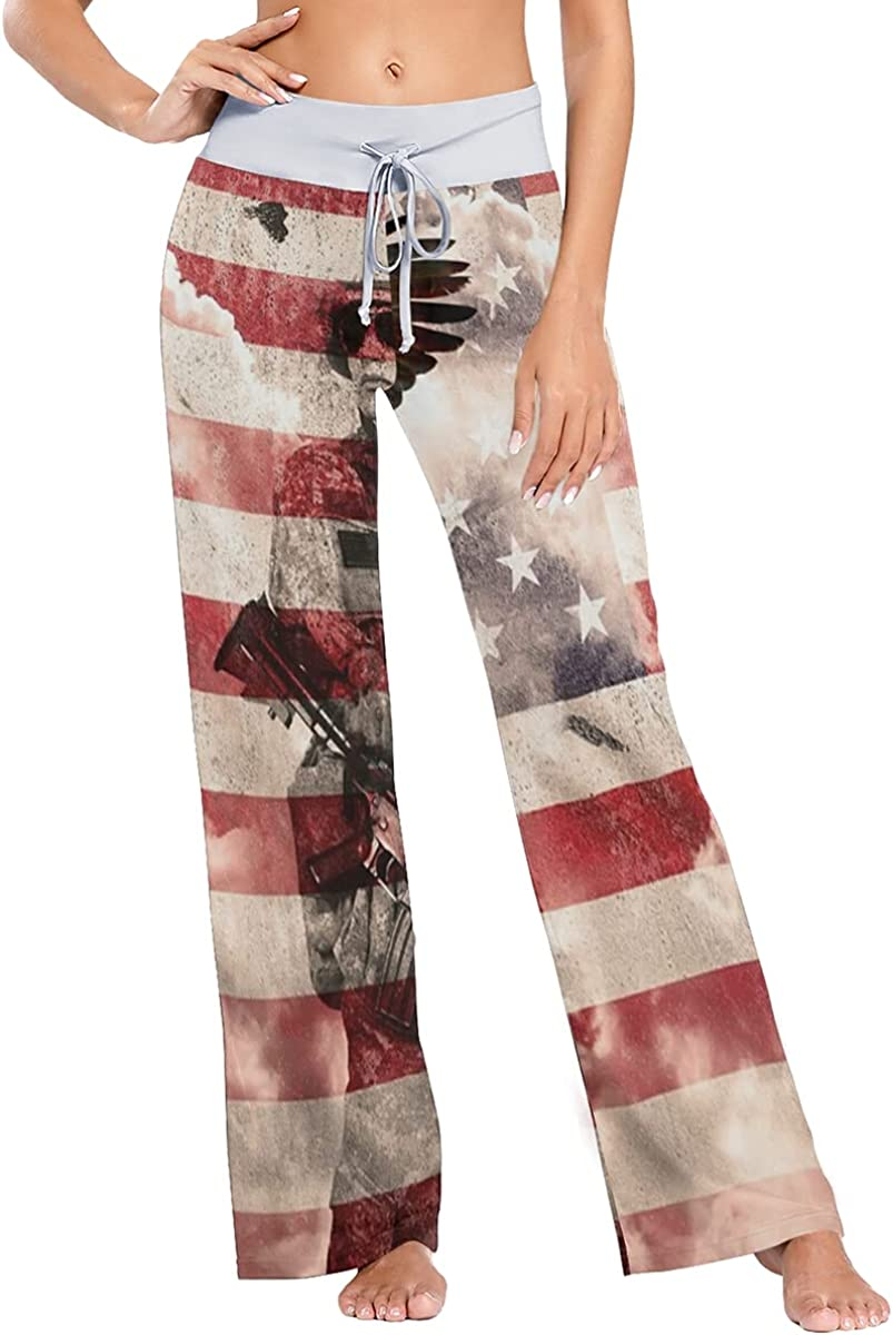 Soldier Eagle On USA Flag Max 64% OFF Pajama Sleep Trousers Stretch Wi Pants Max 67% OFF