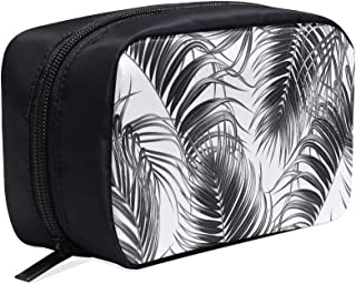 Black White Tropical Palm Leaves Portable Travel Makeup Cosmetic Bags Organizer Multifunction Case Small Toiletry Bags For Women And Men Brushes Case