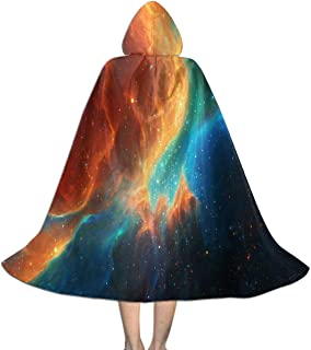 Colorful Color Splash Galaxy Kid Hooded Cape,Medieval Cloak with Hood for Devil Witch Wizard Magician