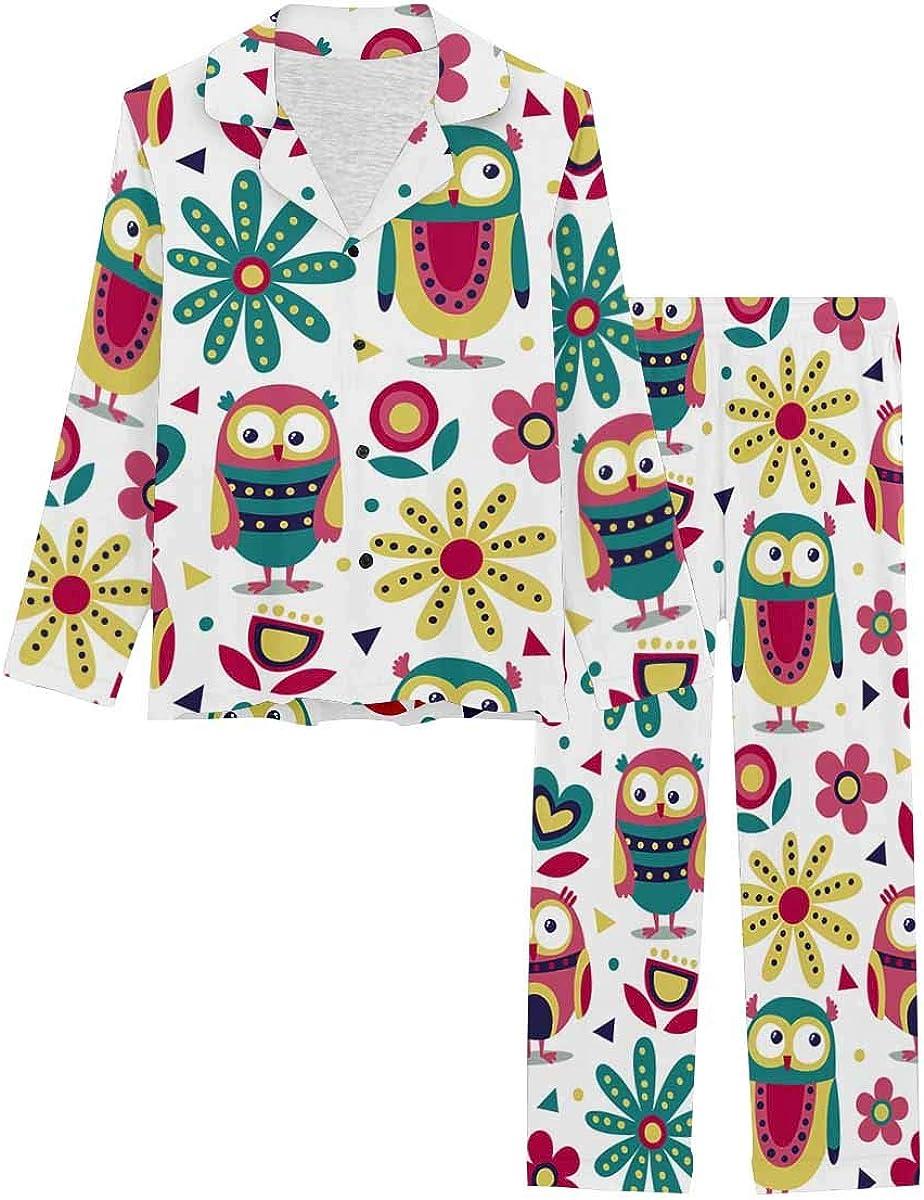 InterestPrint Soft Nightwear Loungewear with Long Pants Pajamas Set New Cute Animal
