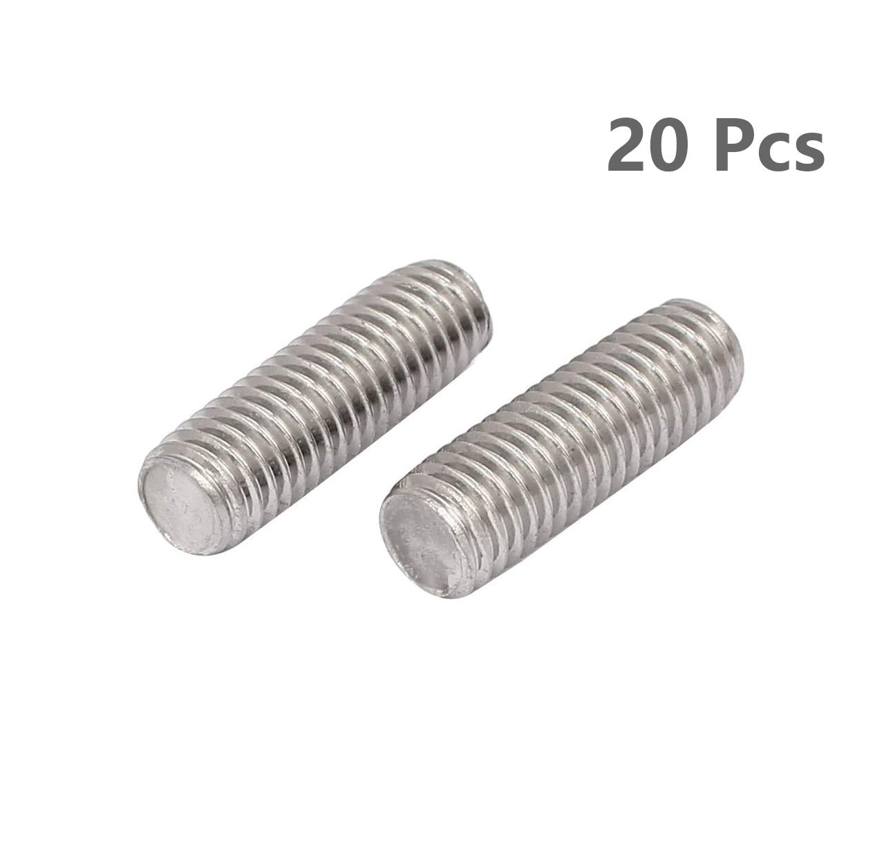 Right Hand Threads,Bar Studs Silver Tone 20 Pcs WEIJ M6 x 25mm 1mm Pitch Fully Threaded Rod 304 Stainless Steel