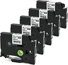 Oozmas Compatible Label Tape Replacement for Brother Laminated Tape TZe-231 TZ 231 Cartridge Black on White for PT-D210 PT-H100 Label Maker 12mm 0.47 Inch x 26.2 Feet, 5 Pack
