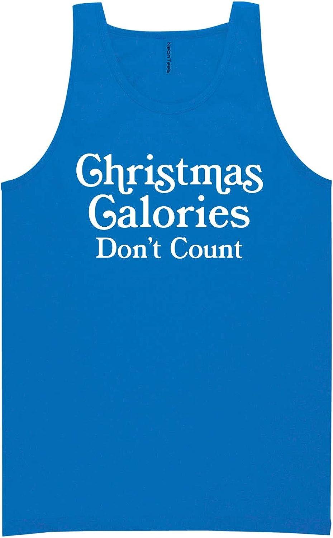 zerogravitee Christmas Calories Don't Count Neon Blue Tank Top - XX-Large