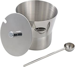 Newness Stainless Steel Sugar Bowl with Lid and Sugar Spoon for Home, Y Shape, 10.8 Ounces(320 Milliliter)