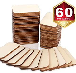 """60 Pcs Unfinished Wood Pieces, HNYYZL Light Wooden Rectangle-Shaped Cutout Craft Wood Discs Natural Rustic, for Paint, Stain, Embellish & Art and Craft Projects(2"""" x 1.3"""")"""