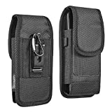 Luxmo Samsung Galaxy S20 FE 5G Belt Clip Holster - Vertical Rugged Nylon Carrying Pouch Phone Case (2 Card Slots/Pen Holder) - Black