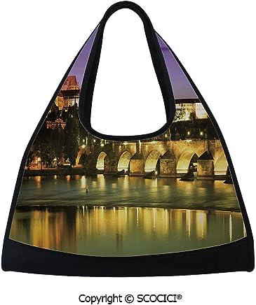 Tennis racket bag,Charles Bridge in Prague Czech Republic European Landmark Castle View Decorative,Easy to Carry(18.5x6.7x20 in) Purple Yellow Brown