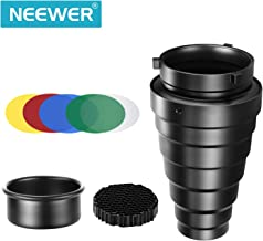 Neewer Medium Aluminium Alloy Conical Snoot Kit with Honeycomb Grid and 5 Pieces Color Gel Filters for Bowens Mount Studio Strobe Monolight Photography Flash Light