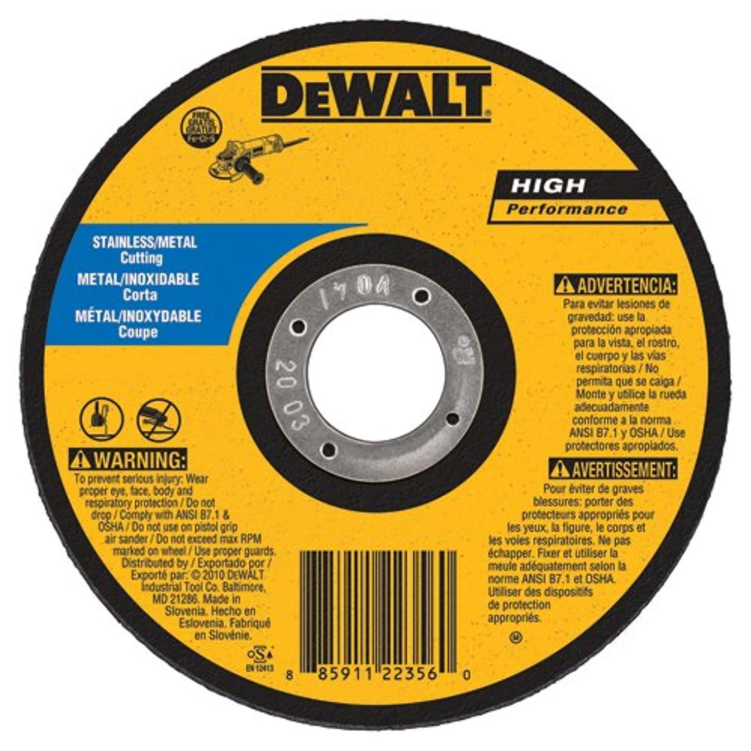 DEWALT DW8065S Cfree Thin Cutoff Wheel, 7-Inch x.045 x 7/8-Inch