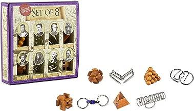 Great Brain Teaser Puzzle Set - 8 Piece - 4 X Wooden Brain Teaser Puzzle and 4 X Metal Entanglement Puzzles by Professor Puzzle