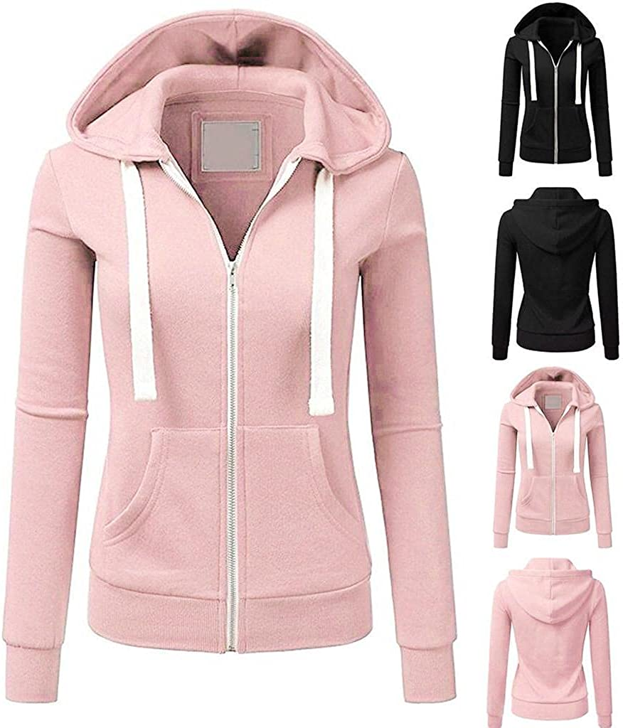 Zip Up Hoodie for Women, 2021 Fashion Fall Lightweight Outerwear Basic Plain Sweatshirts Fall Casual Hooded Pullover Top