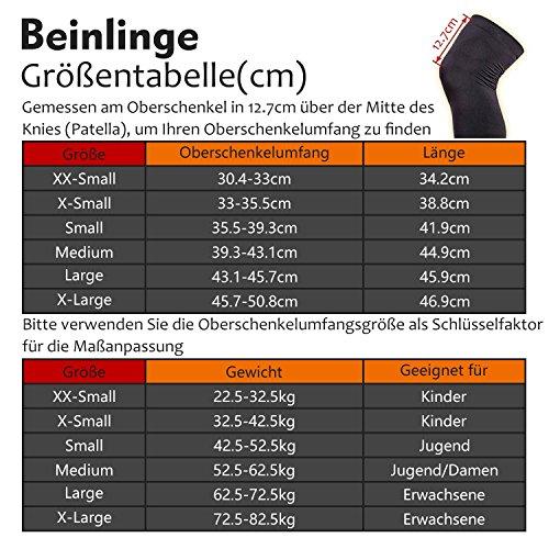 COOLOMG Beinlinge Knielinge Kompression Knieschutz Radsport Basketball Fußball UV Sonnenschutz Anti Rutschen für Herren Damen Kinder Jugend XXS-L (1 Paar) MEHRWEG - 2
