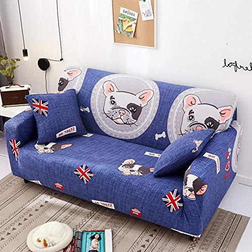 chuanglanja Sofabezug Kissen Kinder-Cartoon Blau Bedruckte Sofabezug Wohnzimmer Bank Schutzmatte rutschfest Atmungsaktiv-1-Sitzer (90-140 cm)