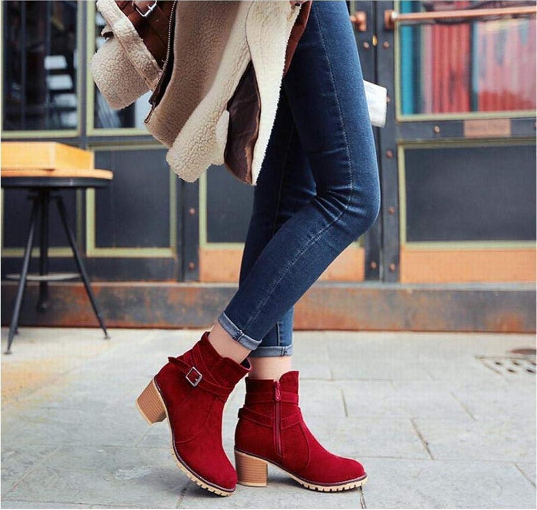 Fuxitoggo Damenstiefel - Fortgeschrittene Gaze-Lederstiefel Spitzenstiefel Spitzenstiefel Warme Rutschfeste Damenschuhe 36-43 (Farbe   Rot, Größe   EU 40)  modisch