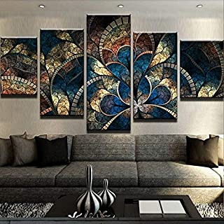 JFSJDF Home Decor for Living Room Wall Modern Art 5 Pieces Fantasy Flowers Paintings Posters Modular Pictures Canvas Abstract HD Prints,40x60x2 40x80x2 40x100cmx1