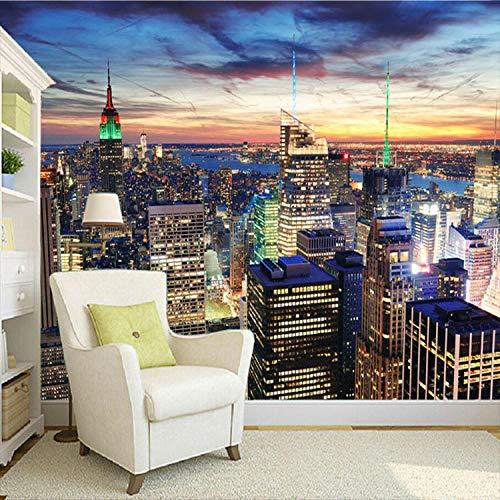YBSBH 3D behang zelfklevende achtergrond moderne grote-schaal foto behang New York City muurschildering natuur landschap kunst muurschildering kinderkamer bank achtergrond muur kinderen slaapkamer meisje kamer K 450x300 cm (WxH) 9 stripes - self-adhesive