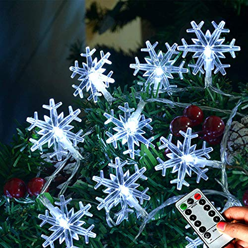 Abkshine 25Ft 50 LED Snowflake String Lights Battery Operated, Waterproof 8 Modes Christmas Fairy...