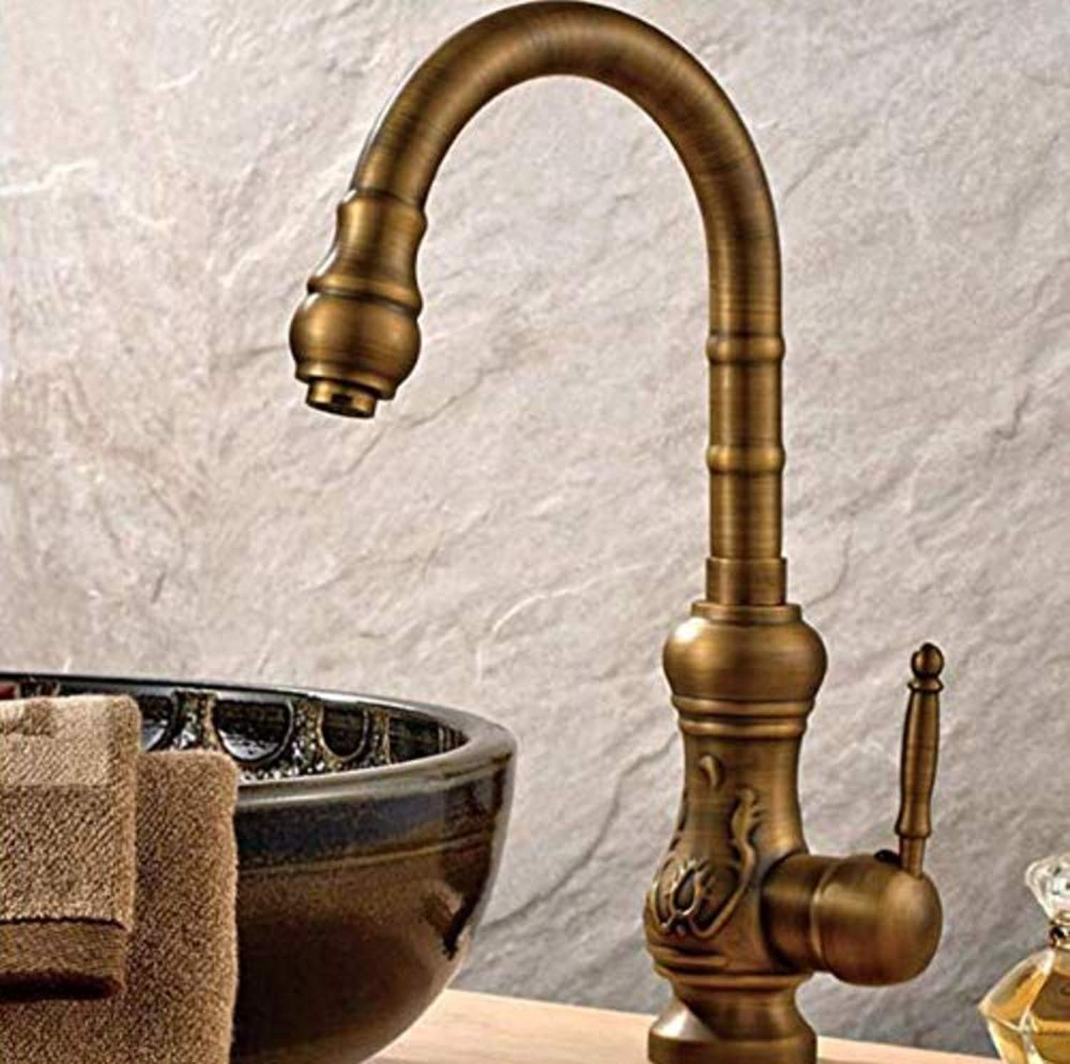 Bathroom Sink Tap Vintage Style Antique Single Handle Bathroom Basin Faucet Hot and Cold Water Sink Faucet Bathroom Vanity Faucet