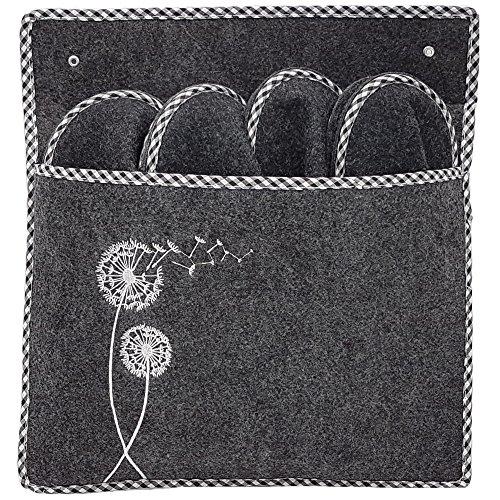 ONVAYA Gästepantoffel Pusteblume Grau | 5er Set | Gästehausschuhe | Pantoffeln | Filzpantoffel