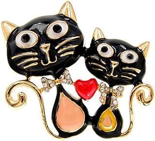 Bijouxmodefashion Spilla a forma di gatto con cuore in acciaio smaltato.