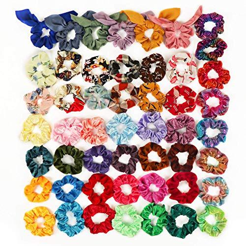 50 Colores Scrunchies Terciopelo, Fansteck Velvet Coleteros de Tela Gomas de Pelo Vsco Girl Hair Scrunchies, Lazos Multicolor Bandas Elásticos para Cabello, Accesorio de Peinado para niñas, mujer