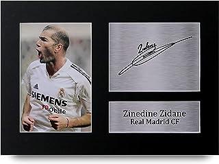HWC Trading Zinedine Zidane A4 Sin Marco Regalo De Visualización De Fotos De Impresión De Imagen Impresa Autógrafo Firmado por Real Madrid Los Aficionados Al Fútbol